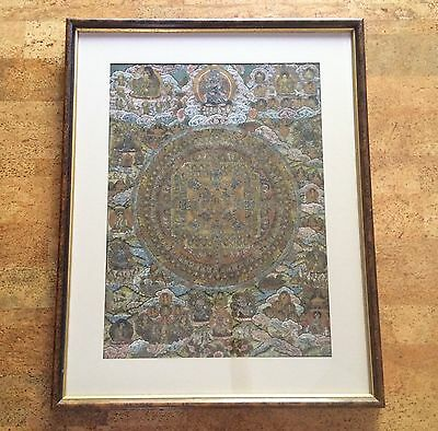 Very Fine Mid 20th Century Tibetan Thangka Painting, Mandala in Neutral Palette