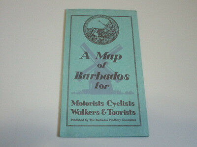 1936 Map of Barbados for Motorists Cyclists Walkers & Tourists