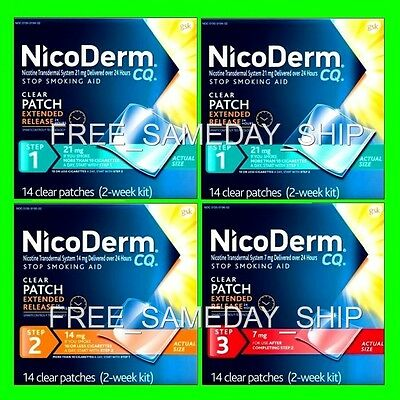 FREE SAMEDAY SHIP__ Nicoderm CQ Step 1 2 3 OCT 2017__ 8-Week 56 Nicotine Patches