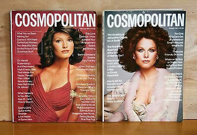 1974 lot of 2 COSMOPOLITAN Magazine OCTOBER and FEBRUARY issues CLEAN good