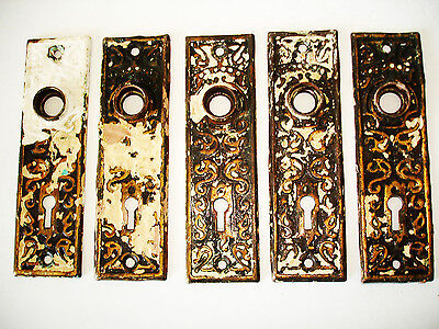 Antique Brass Door Back Plates Lot B Set Skeleton Key Backplates