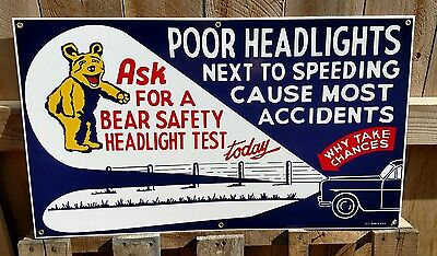 BEAR SAFETY 1940'S - 1950'S STYLE LARGE SIZE PORCELAIN SIGN - GAS & OIL *Last 1
