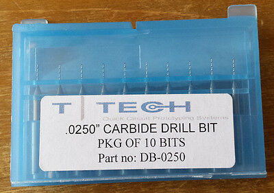 """T-Tech 0.0250"""" Carbide Drill Bit, DB-0250, Package of 10"""