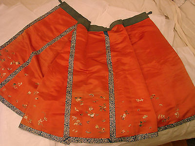 Chinese Embroidered Wrap Skirt with Butterflies + Flowers Antique Unknown