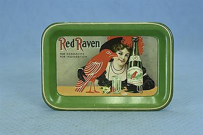 Vintage 1920 ADVERTISING RED RAVEN TIP TIN TRAY FOR HEADACHE INDIGESTION #03832