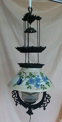 "ANTIQUE CAST  ""IRON HORSE"" PULL DOWN HANGING OIL LAMP - hand-painted shade"