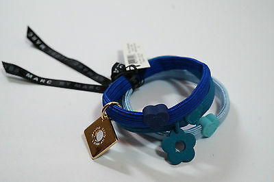 Marc by Marc Jacobs set of 3 charm ponytail hair band ties heart blue turquoise