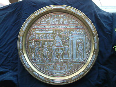 Old Antique Cairoware Platter Plate Tray Brass Copper Middle Eastern Rare Silver