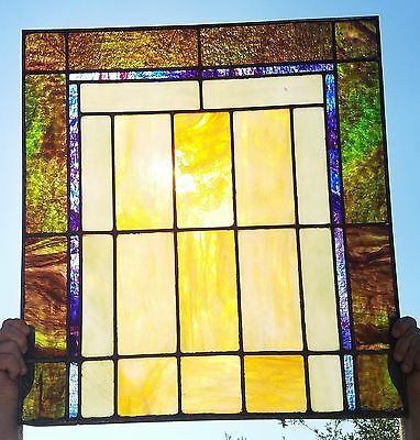Antique Stained Glass Window Panel Stunning Victorian Tiffany Style Leaded