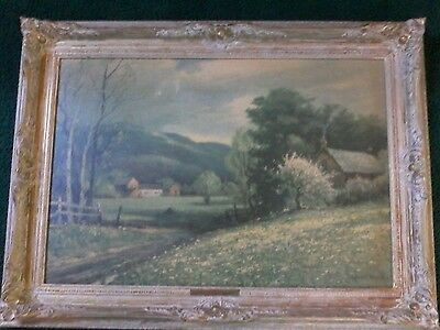 "Vintage 31.5x23.5""Gesso and Gold French Country Picture Frame and Scenic Picture"