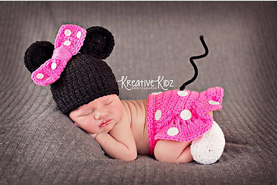Newborn Baby Crochet Knit Costume Photography Photo Prop Hat Cap Set Outfit #003