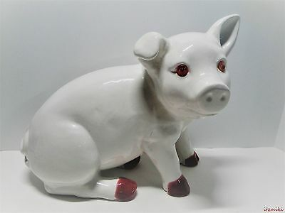 X-Large Original Mid Century Ceramic White & Pink Pig Figurine With Applied Eyes