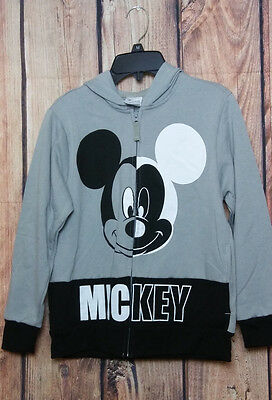 Disney Mickey Mouse Zip Hoodie Sweater New Size 8 Youth Gray Black White