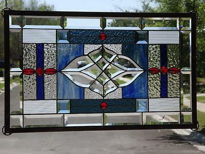 "• RUBY'S •Beveled Stained Glass Window Panel = 29 ¼""-17 ¼"" (72-44cm)"