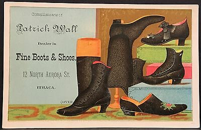 Ithaca NY ~ Patrick Wall Boots Shoes & Slippers ~ Great Graphics ~ Trade Card