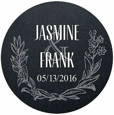 Set of Personalized Wedding Gift Stickers wreath black siliver gold Party Favor