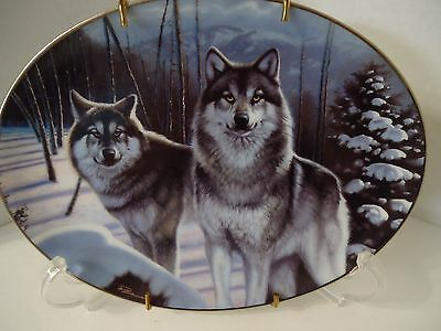 "Collectible ""Mystic Guardians"" Wolf Plate by Daniel Pierce- Bradford Exchange"