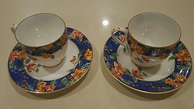 Maebata Japan Ungaro Design Tea Cup and Saucer Flower Design (X2)