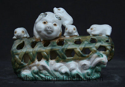 "7"" Old Chinese Famille Rose Pottery Porcelain Pig Statue Hollow Out Sculpture"