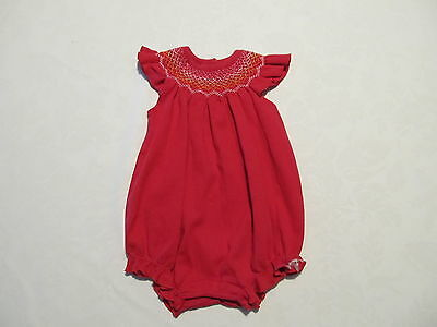 Baby Gap Girl's Smock Top Romper/One Piece Dark Pink 0-3 Months GUC Cotton Knit