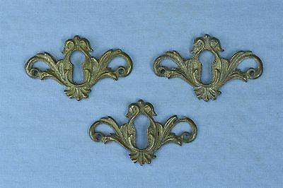Antique SET of 3 VICTORIAN CAST BRASS KEY HOLE COVER ESCUTCHEON HARDWARE #03732