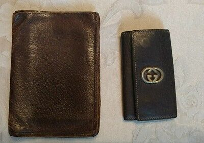 Vintage GUCCI Key Holder & Wallet Brown LEATHER Italy Gold GG Logo GC