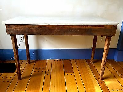 Antique Baker's Table~LARGE MARBLE TOP~Primitive!