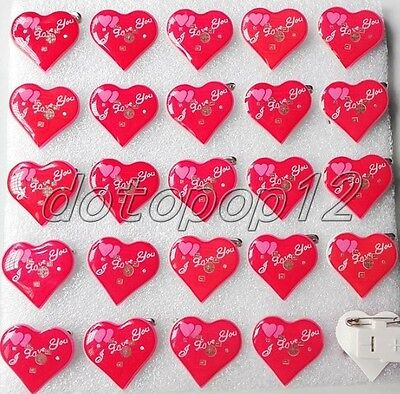 Lot Red Heart Flashing LED Light Up Badge/Brooch Pins Kids Party Favors D485