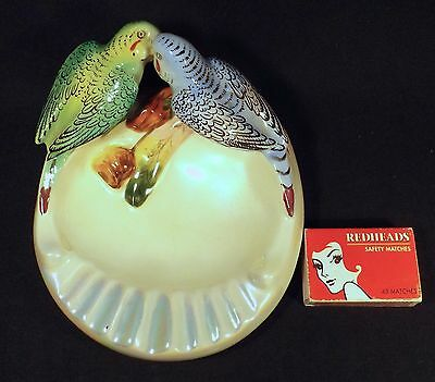 1950's Australian Pottery Wembley Ware Hand Painted Budgerigars Ashtray Vg Cond.