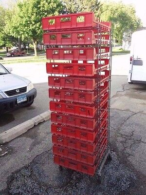Commercial Bakery Bread Trays, Red in Metal Rack lot of 16, storage