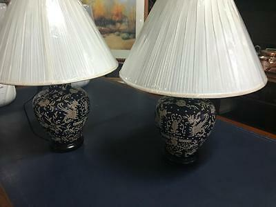 Pair Of Chinese Ceramic Table Lamps..converted By Transco..new Shades