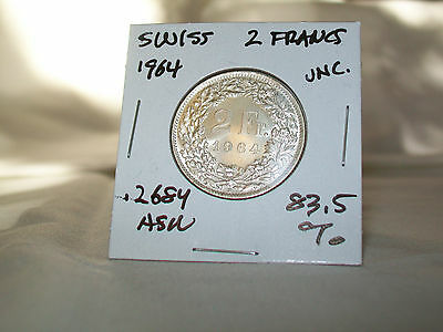 1964 B   Swiss Silver  2 Francs,  83.5 % Silver ,    Uncirculated & Lusterous