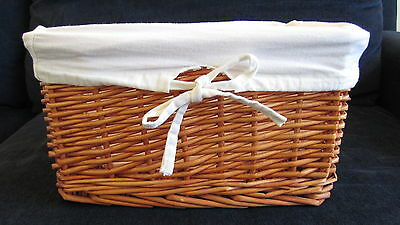 Cane Wicker Storage Basket Canvas Lined: Toys Laundry Bedroom 4