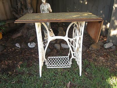Antique Singer Sewing Machine Table Stand Metal Frame,with Tiled Top
