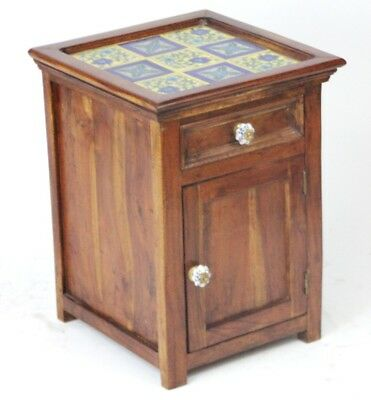 Vintage English Tile Top Mahogany Bedside Cabinet - FREE Shipping [PL3502]
