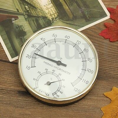 10cm Stainless Steel Case Sauna Room Thermometer Hygrometer -0°c~120°c Outdoor