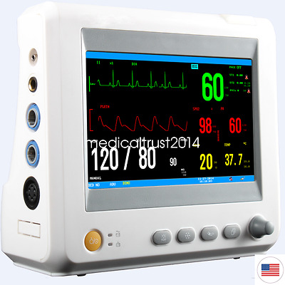 ICU CCU Vital Sign Patient Monitor ECG NIBP RESP TEMP SPO2 PR 7 Inch lead mode