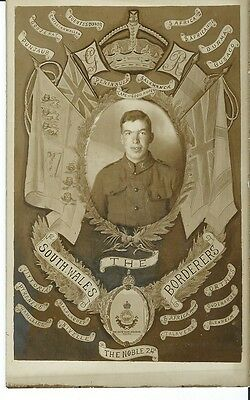 Military, South Wales Borderers, Portrait Of Soldier, Sepia Photo Postcard
