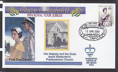 "Souvenir Cover:  2004,, The Royal Tour Jubilee Of 1954, Visited ""warburton"""