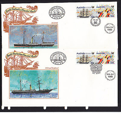 Souvenir Cover: 1986 South Australian Coastal Mails Set Of 5 Covers.