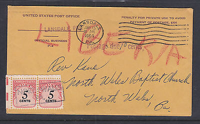 USA 1964 10c POSTAGE DUE COVER TO NORTH WALES BA