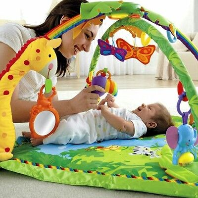 Fisher Price Rainforest Melodies & Lights Deluxe Activity Gym, Baby Play Mat