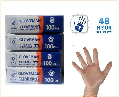GLOVEMAN Disposable Clear Vinyl Powder & LATEX FREE Gloves, All Sizes ,CHEAPEST