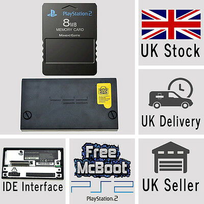 Sony PlayStation2 PS2 IDE HD Hard Drive Adaptor Adapter & 8MB Memory Card McBoot