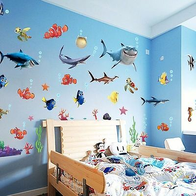 Nemo Sharks Sea For Kids Baby Wall Decor Vinyl Decal Stickers Removable DIY