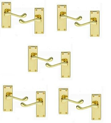 5 X Pairs Victorian Scroll Lever Latch Door Handles On Backplate Polished Brass