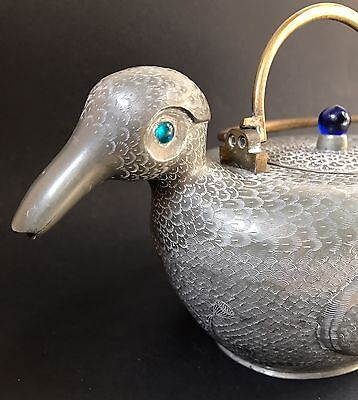 Antique Chinese Pewter Teapot Engraved Bird Glass Eyes & Finial