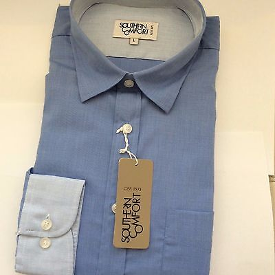 Brand New Blue Day Shirt With White Cuffs By Southern Comfort