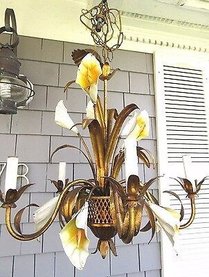Vintage Gold Gilt Tole Chandelier Calla Lilies Italy Metal 5 Light Flower