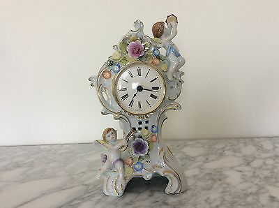 Lovely dresden germany schierholz plaue clock multicolor porcelain figurine